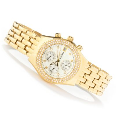 613-915 - Stauer Women's Diamondaura Brilliante® Quartz Stainless Steel Bracelet Watch