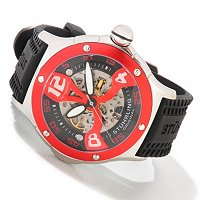 STUHRLING ORIGINAL MEN'S ALPINE XTREME AUTOMATIC SKELETONIZED RUBBER STRAP WATCH