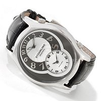 STUHRLING ORIGINAL KENSINGTON GRAND DUAL TIME LEATHER STRAP WATCH