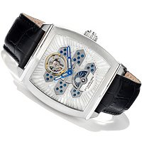 STUHRLING ORIGINAL MEN'S EXPOSITION OPEN HEART AUTOMATIC LEATHER STRAP WATCH