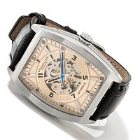 STUHRLING ORIGINAL MEN'S MILLENNIA PRODIGY SKELETON AUTOMATIC LEATHER STRAP WATCH