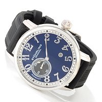 STUHRLING ORIGINAL MEN'S LEGACY DE NOVO AUTOMATIC RUBBER STRAP WATCH