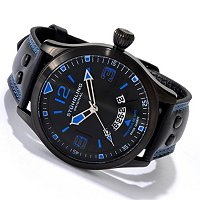STUHRLING ORIGINAL MEN'S EAGLE BRIGADE QUARTZ BLACK IP STAINLESS STEEL CASE LEATHER STRAP WATCH