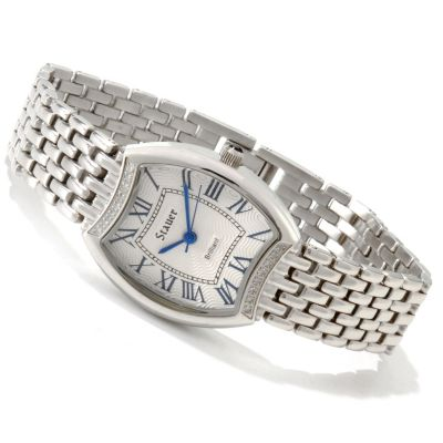 614-155 - Stauer Women's Diamond Brillant Swiss Quartz Stainless Steel Bracelet Watch