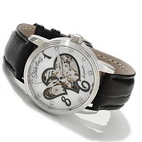 STUHRLING ORIGINAL WOMEN'S VENUS VICTRIX SKELETON AUTOMATIC LEATHER STRAP WATCH