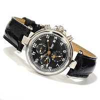 STAUER MEN'S NOIRE AUTOMATIC STAINLESS CASE LEATHER STRAP WATCH