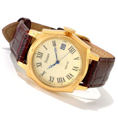 614-285 - Stauer Men's Volta Automatic Quartz Exhibition Back Leather Strap Watch