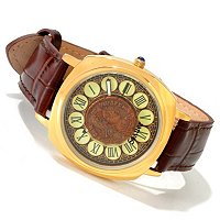 Stauer Men's Naissus Quartz Roman Coin Leather Strap Watch