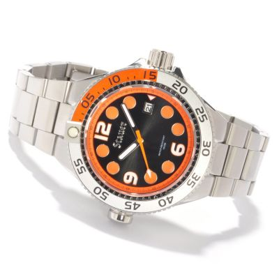 614-395 - Stauer Men's Trident 100 Dive Quartz Stainless Steel Bracelet Watch
