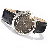 Stuhrling Prestige Men's Swiss Automatic Leather Strap Watch