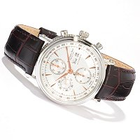 Stuhrling Prestige Men's Swiss Automatic Chronograph Leather Strap Watch