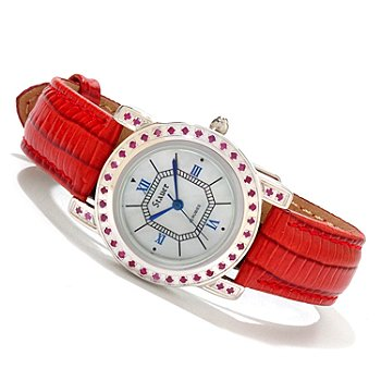 614-581 - Stauer Women's Vala Ruby Accented Mother-of-Pearl Leather Strap Watch