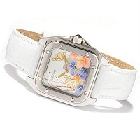 STUHRLING ORIGINAL WOMEN'S PERDITA SQUARE QUARTZ LEATHER STRAP FASION WATCH