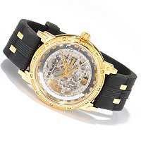 STUHRLING ORIGINAL MEN'S WINCHESTER CAVALIER SKELETON AUTOMATIC RUBBER STRAP WATCH