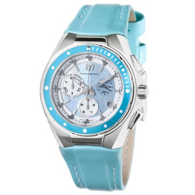 616-486 - TechnoMarine Men's Cruise Quartz Chronograph Leather Strap Watch