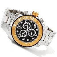 TTV INVICTA MENS SEA HUNTER SWISS CHRONOGRAPH STAINLESS BRACELET WATCH W/ 8DC