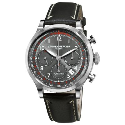 616-539 - Baume & Mercier Men's Capeland Swiss Made Automatic Chronograph Black Leather Strap Watch