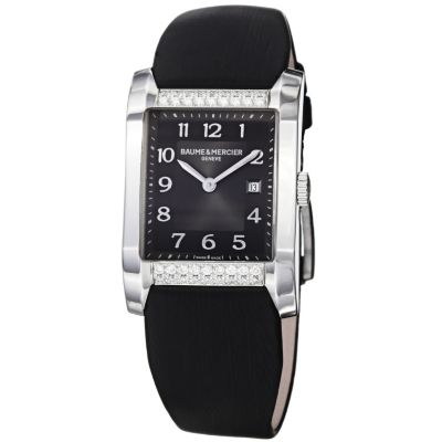 616-566 - Baume & Mercier Women's Hampton Swiss Made Quartz Black Satin Strap Watch