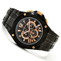 RENATO MENS ROUND COUGAR CHRONOGRAPH BLACK/ROSETONE BRACELET WATCH