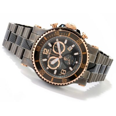 616-692 - Renato Men's T-Rex Diver Swiss Quartz Chronograph Carbon Fiber Bracelet Watch