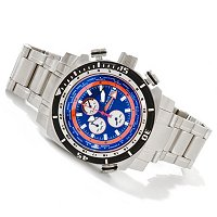 DEEP BLUE MEN'S WORLD TIMER QUARTZ CHRONOGRAPH STAINLESS BRACELET WATCH