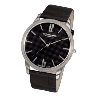 616-813 - Stührling Original Men's Del Mar Quartz Leather Strap Watch