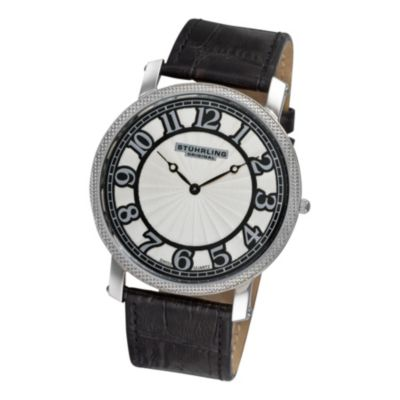 616-815 - Stührling Original Men's Hyperion Quartz Leather Strap Watch