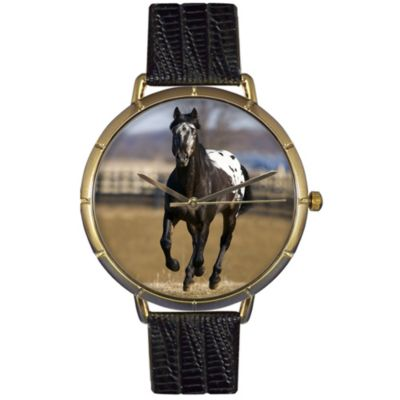 616-858 - Whimsical Watches Women's Japanese Quartz Appaloosa Horse Black Leather Strap Watch
