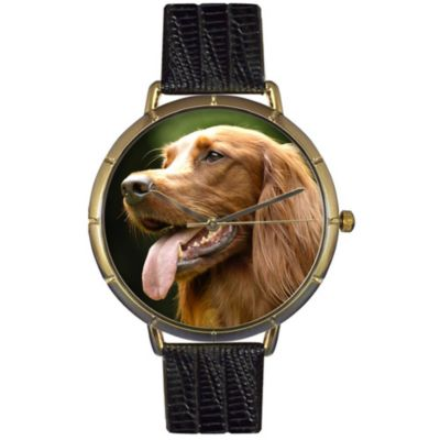 616-999 - Whimsical Watches Women's Irish Setter Quartz Black Leather Strap Watch