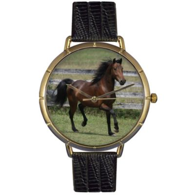 617-005 - Whimsical Watches Women's Morgan Horse Quartz Black Leather Strap Watch