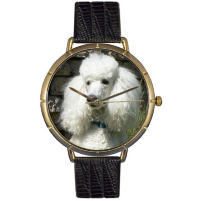 617-009 - Whimsical Watches Women's Poodle Quartz Black Leather Strap Watch