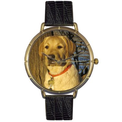 617-047 - Whimsical Watches Women's Yellow Labrador Retriever Quartz Black Leather Strap Watch
