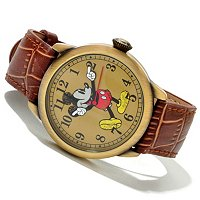 Mickey Antique Case Brown Croco Leather Strap Watch
