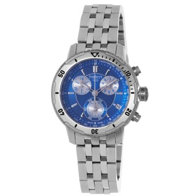 617-196 - Tissot Men's Swiss Made Quartz Chronograph Blue Dial Stainless Steel Bracelet Watch