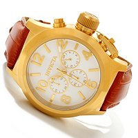 INVICTA MEN'S CORDUBA QUARTZ CHRONOGRAPH LEATHER STRAP WATCH