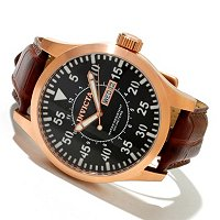 INVICTA MEN'S SPECIALTY OUTDOOR QUARTZ DAY & DATE LEATHER STRAP WATCH