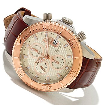 617-344 - Invicta Reserve Men's Pro Diver Swiss Valjoux 7750 Automatic Chronograph Leather Strap Watch