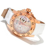 INVICTA RESERVE WOMENS EXCURSION ELEGANT ED SWISS CHRONO LEATHER STRAP WATCH