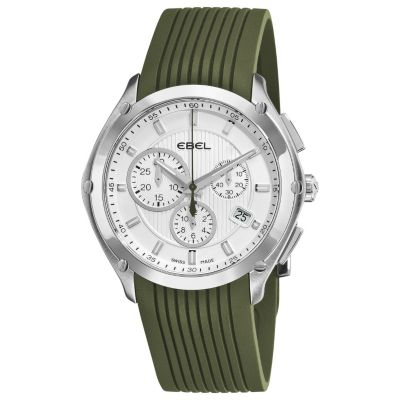 617-402 - Ebel Men's Classic Sport Swiss Made Quartz Chronograph Green Rubber Strap Watch