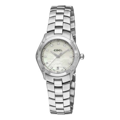 617-405 - Ebel Women's Classic Sport Swiss Made Quartz Diamond Accent Stainless Steel Bracelet Watch