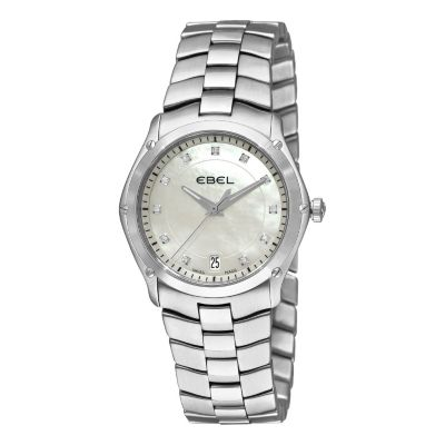617-406 - Ebel Women's Classic Sport Swiss Made Quartz Diamond Accent Stainless Steel Bracelet Watch