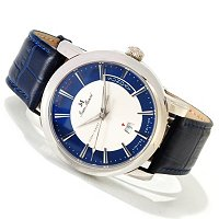 JEAN MARCEL MEN'S CLARUS SWISS AUTO LIMITED EDITION OCEAN BLUE CROCO STRAP WATCH