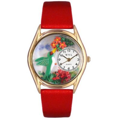 617-473 - Whimsical Watches Kid's Hummingbirds Quartz Leather Strap Watch