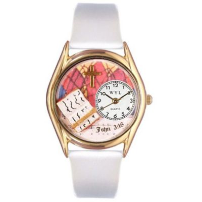 617-513 - Whimsical Watches Kids Japanese Quartz John 3:16 White Leather Strap Watch