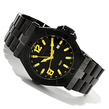 617-596 - Renato Men's Wilde-Beast Quartz GMT Stainless Steel Bracelet Watch