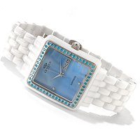 ONISS WOMEN'S SWISS CERAMIC & STAINLESS STEEL CRYSTAL ACCENT MOP BRACELET WATCH