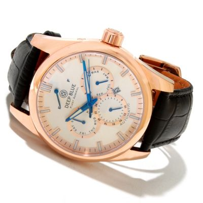 617-713 - Deep Blue Men's Fleet Admiral Automatic Calendar Stainless Steel Leather Strap Watch