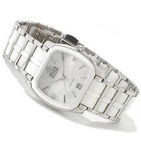 ONISS WOMEN'S SWISS CERAMIC & STAINLESS STEEL DIAMOND ACCENT BRACELET WATCH