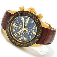 TTV INVICTA RESERVE MEN'S SPEEDWAY ELEGANT VALJOUX 7750 LEATHER STRAP WATCH