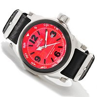 INVICTA MEN'S I FORCE SWISS MADE QUARTZ MOVEMENT LEATHER STRAP WATCH